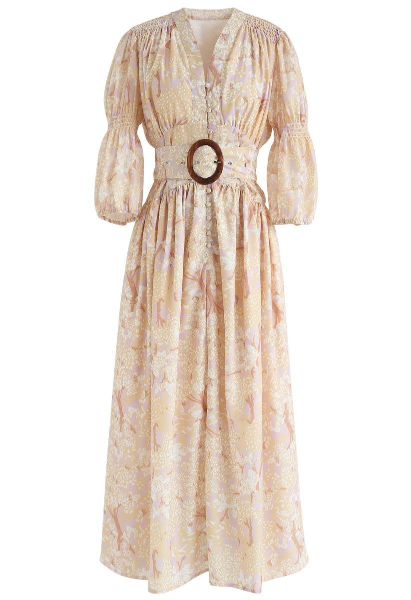 Goldenes Baum-bedrucktes gerafftes Kleid mit V-Ausschnitt