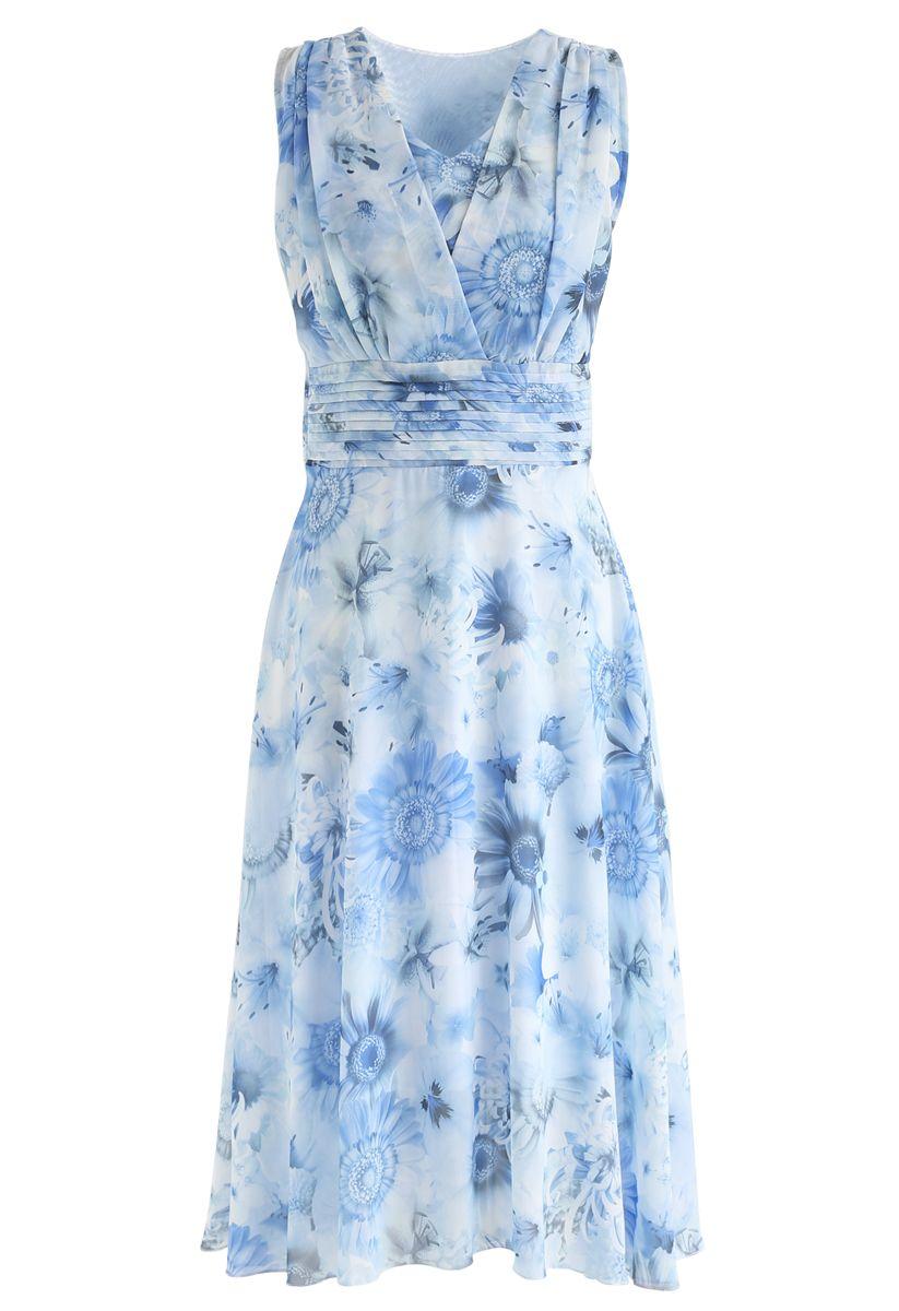 Blaues Sonnenblumen-Plissee-ärmelloses Chiffon-Kleid