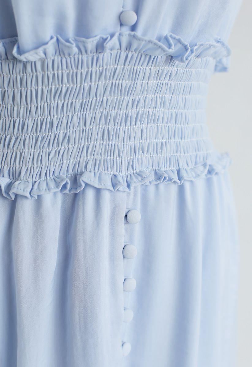 Shirred Button Down Rüschenkleid in Himmelblau