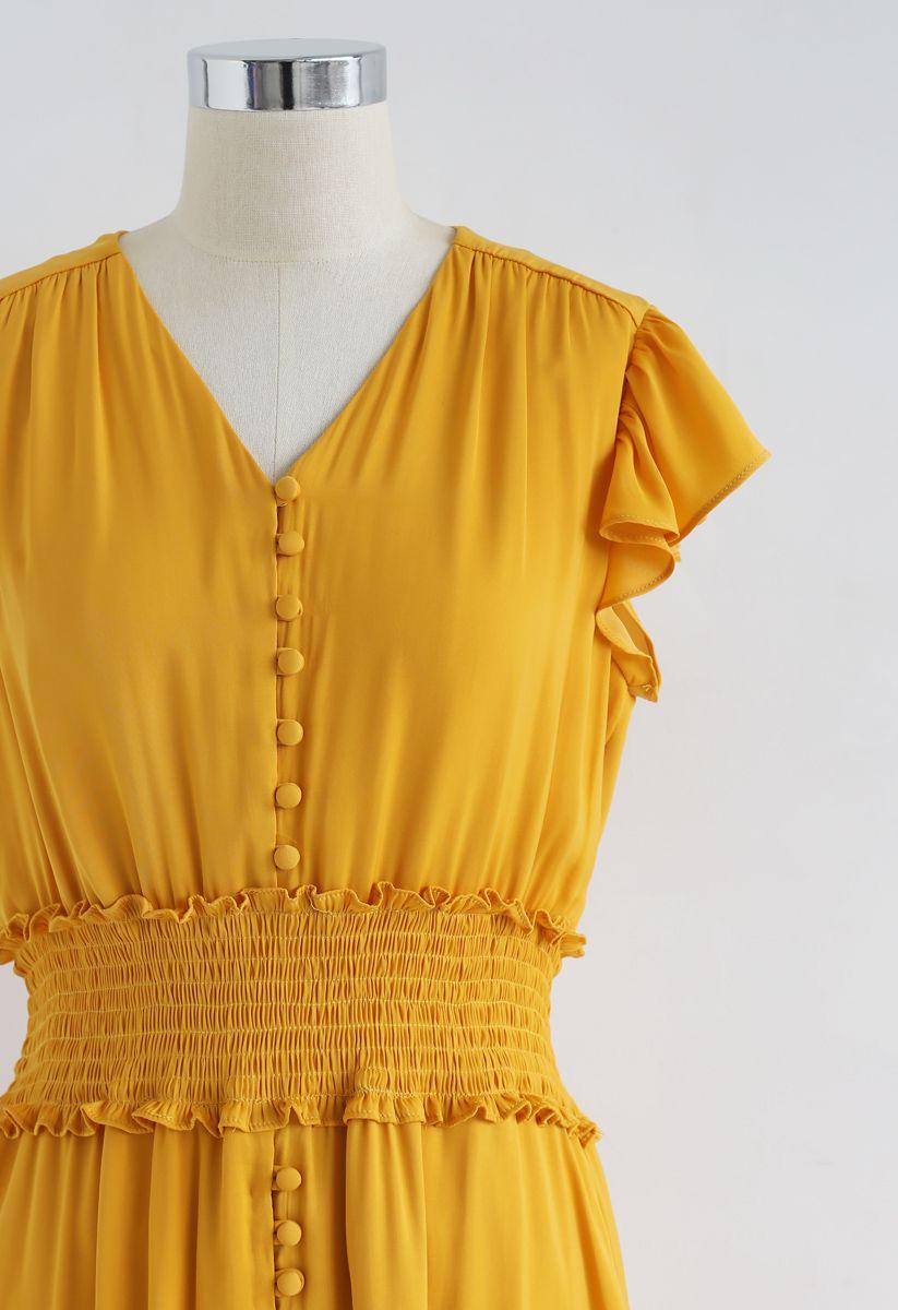 Shirred Button Down Rüschenkleid in Senf
