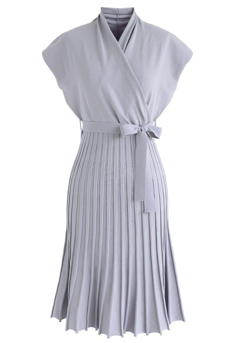 Plissee ärmelloses Wickelstrickkleid aus Lavendel