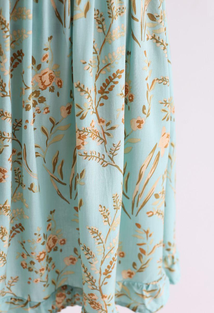 Grünes Posy Print Quadratisches Hals-Kleid