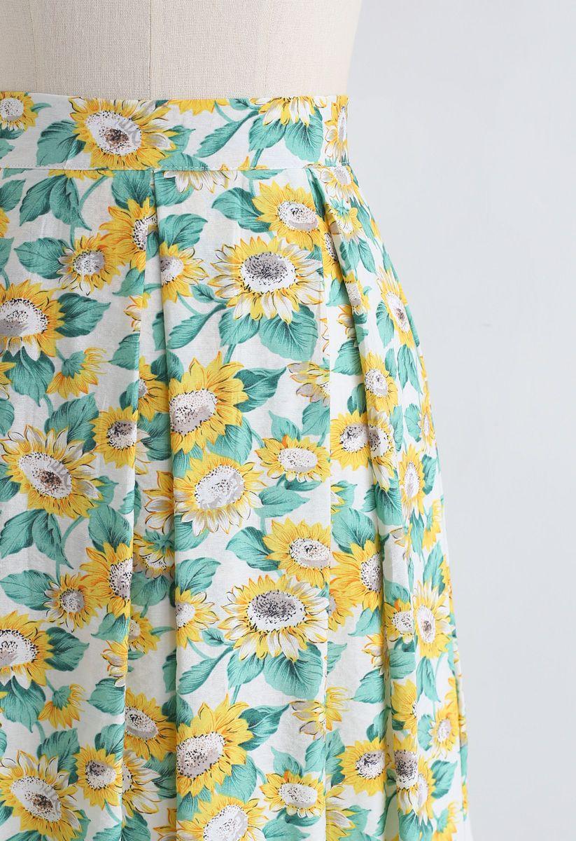 A-Line Midirock mit Sonnenblumenmuster