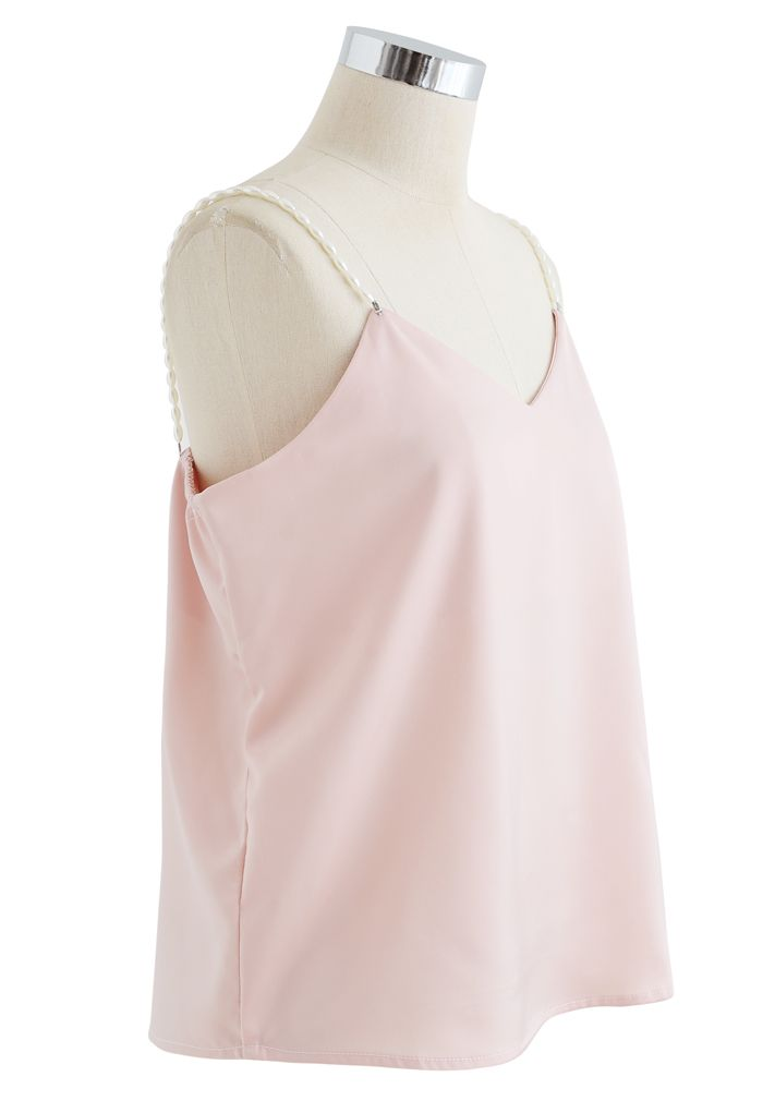Pearl Straps Satin Cami Tank Top in Pink