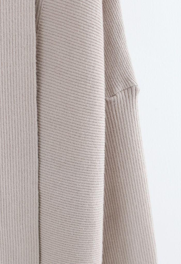 Basic Rib Knit Drape Neck Cardigan in Sand