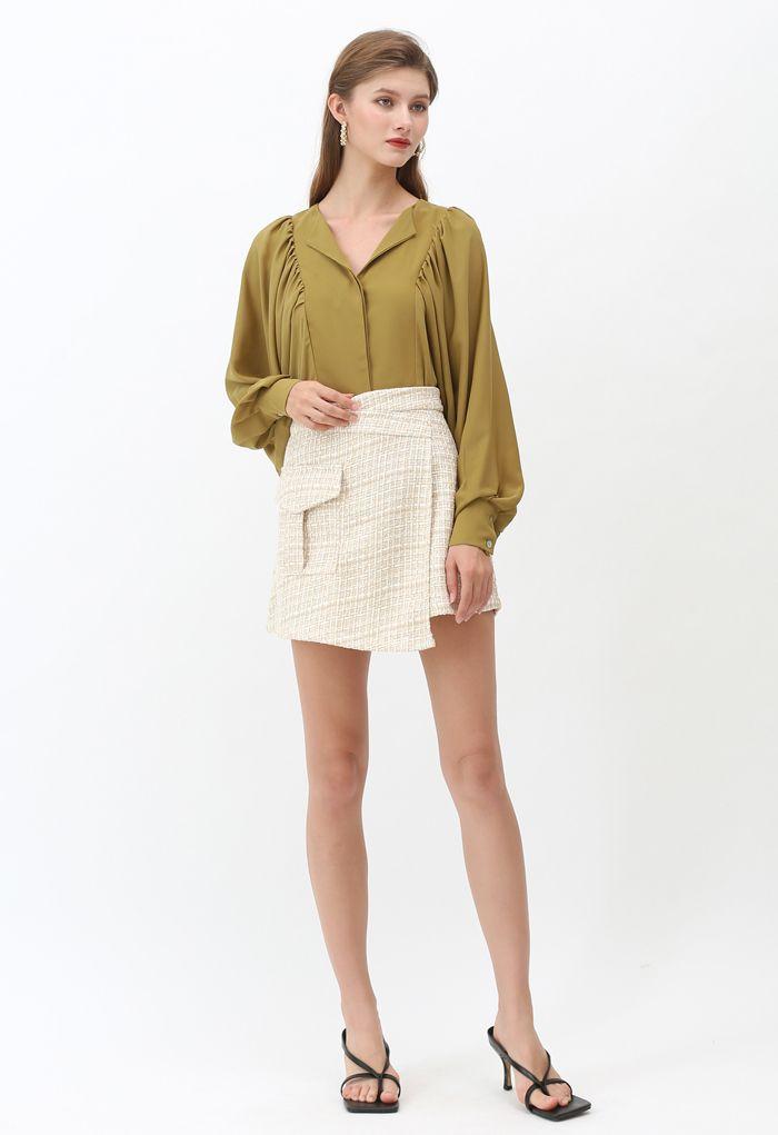 Tweed Asymmetric Mini Skirt in Light Yellow