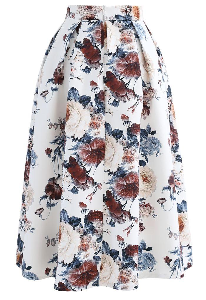 Pleated Baroque Floral Print Midi Skirt