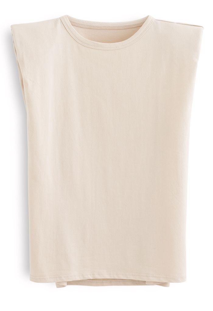Padded Shoulder Sleeveless Top in Cream