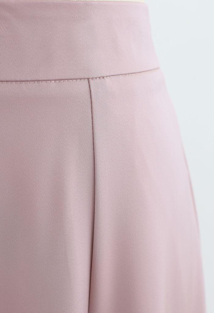 Satin A-Line Midirock in Pink