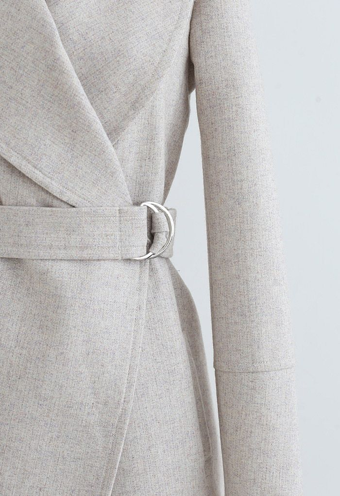 Rabato Wrap Belted Wollmischmantel aus Elfenbein