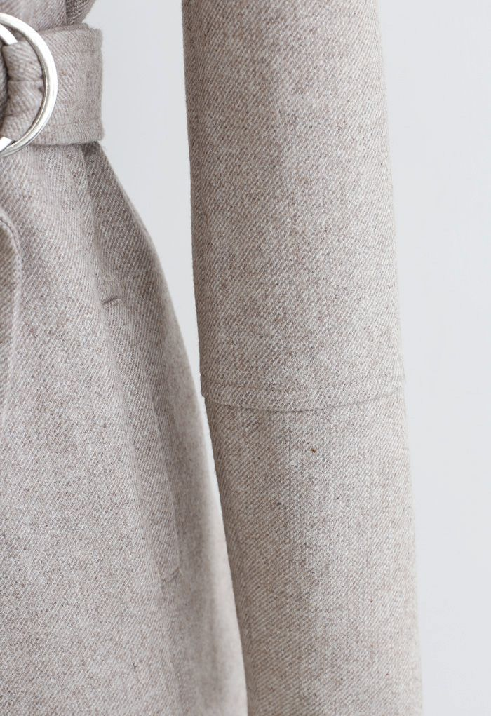 Rabato Wrap Belted Wollmischmantel in Hellbraun