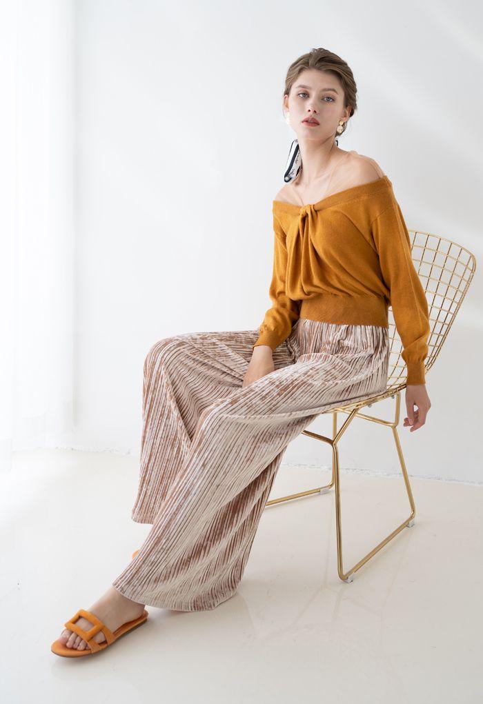 Pleated Velvet Wide Leg Pants in Tan
