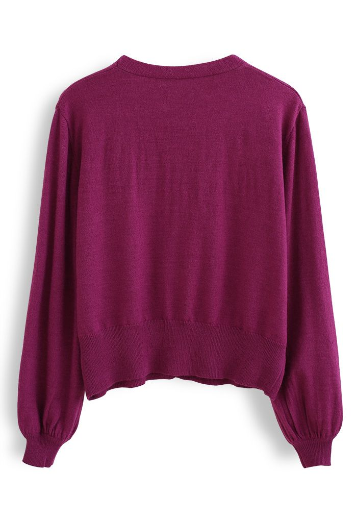 V-Neck Button Down Ribbed Knit Cardigan in Violet