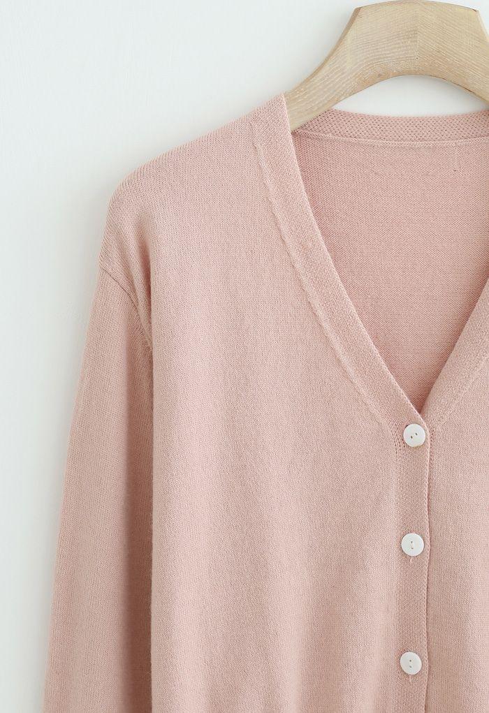 V-Ausschnitt Button Down gerippte Strickjacke in Pink