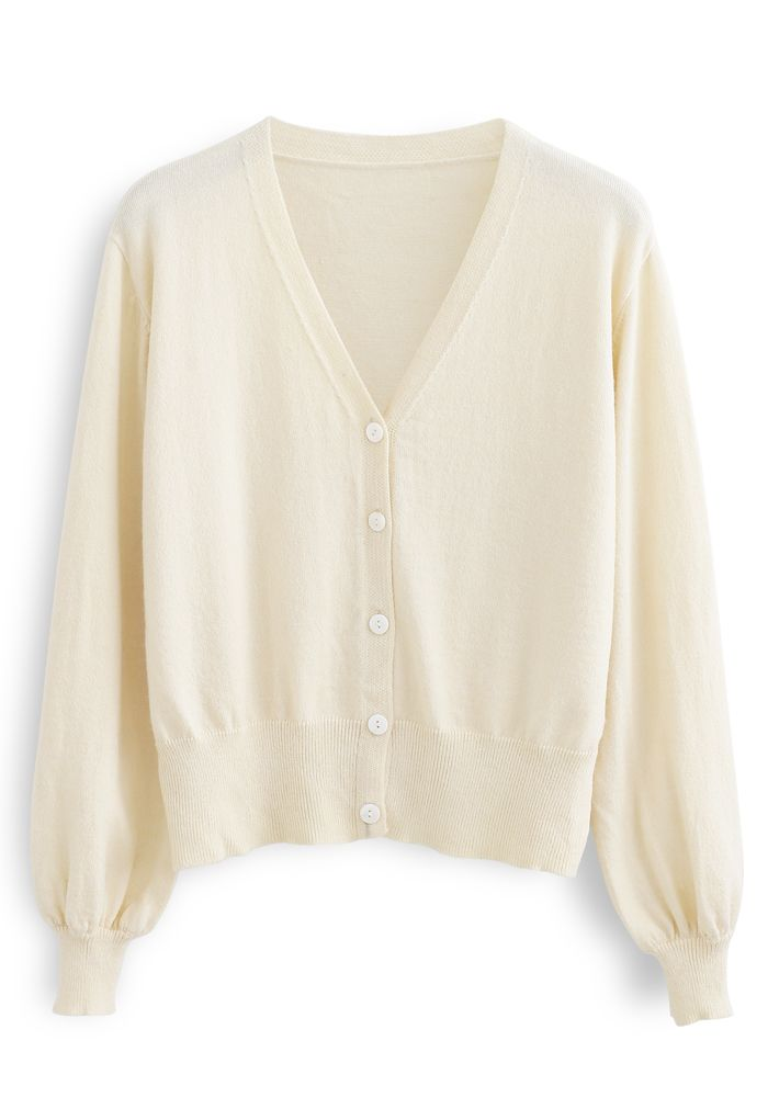V-Ausschnitt Button Down gerippte Strickjacke in Creme