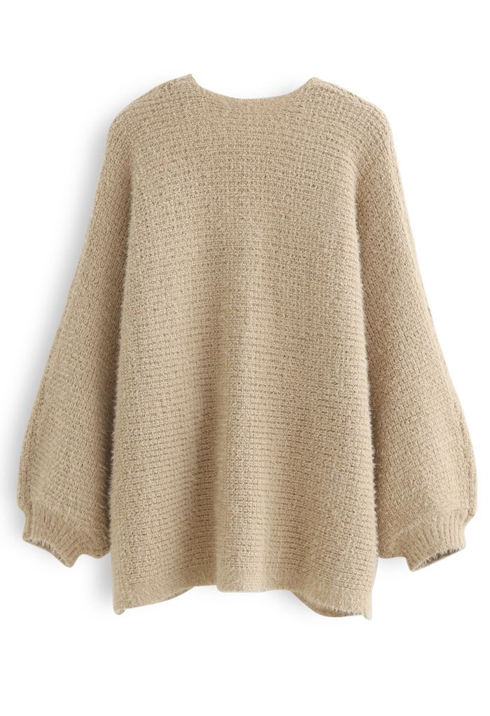 Fuzzy Open Front Waffle Knit Cardigan in Tan