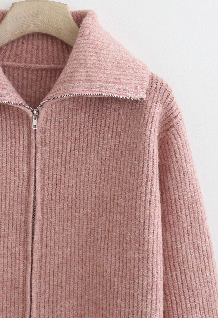 Full Zip Ribbed Knit Cardigan in Pink