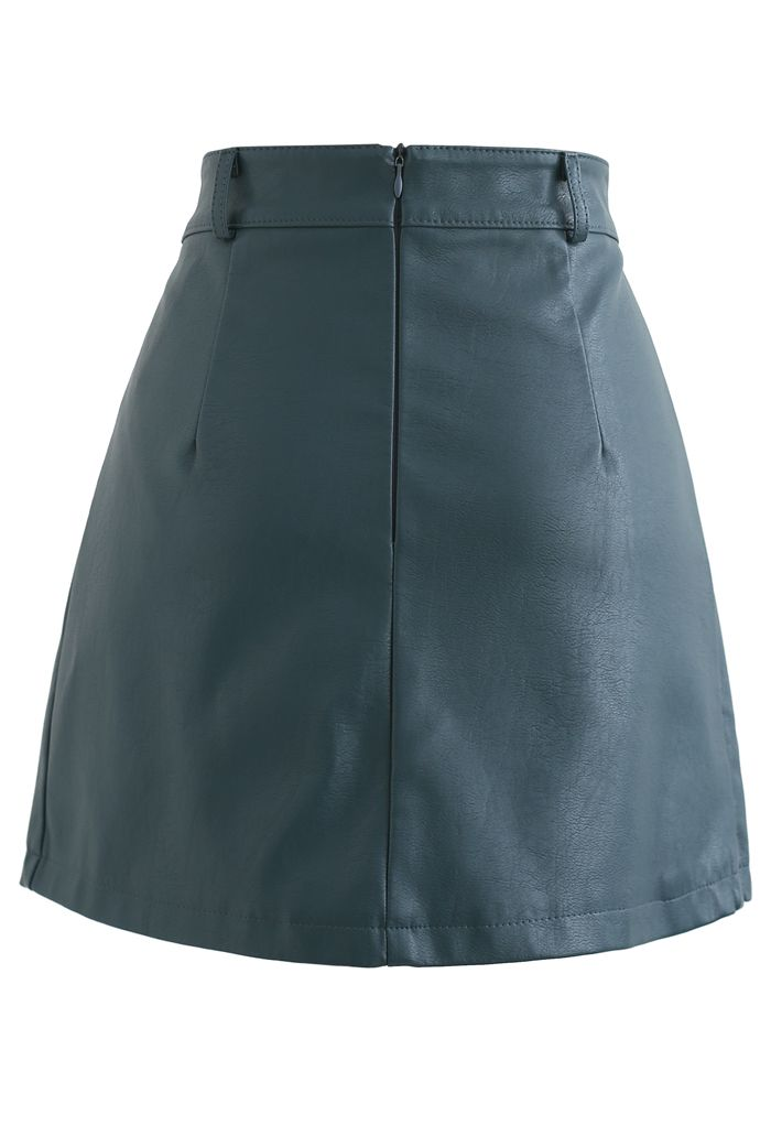 Belt Detail Faux Leather Pleated Mini Skirt in Teal