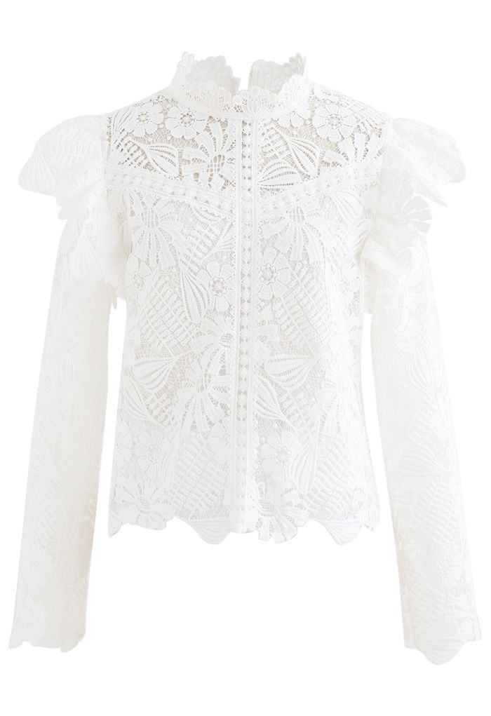 Panelled Sunflower Ruffle Crochet Top in White