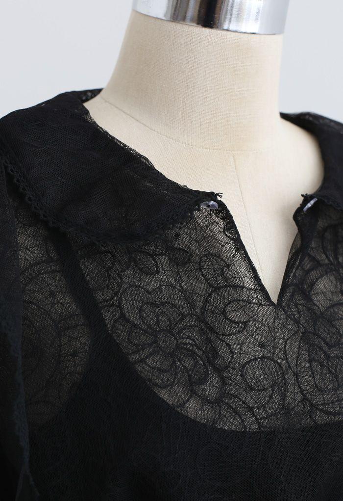 Flower Vine Organza Mesh Shirred Top in Black
