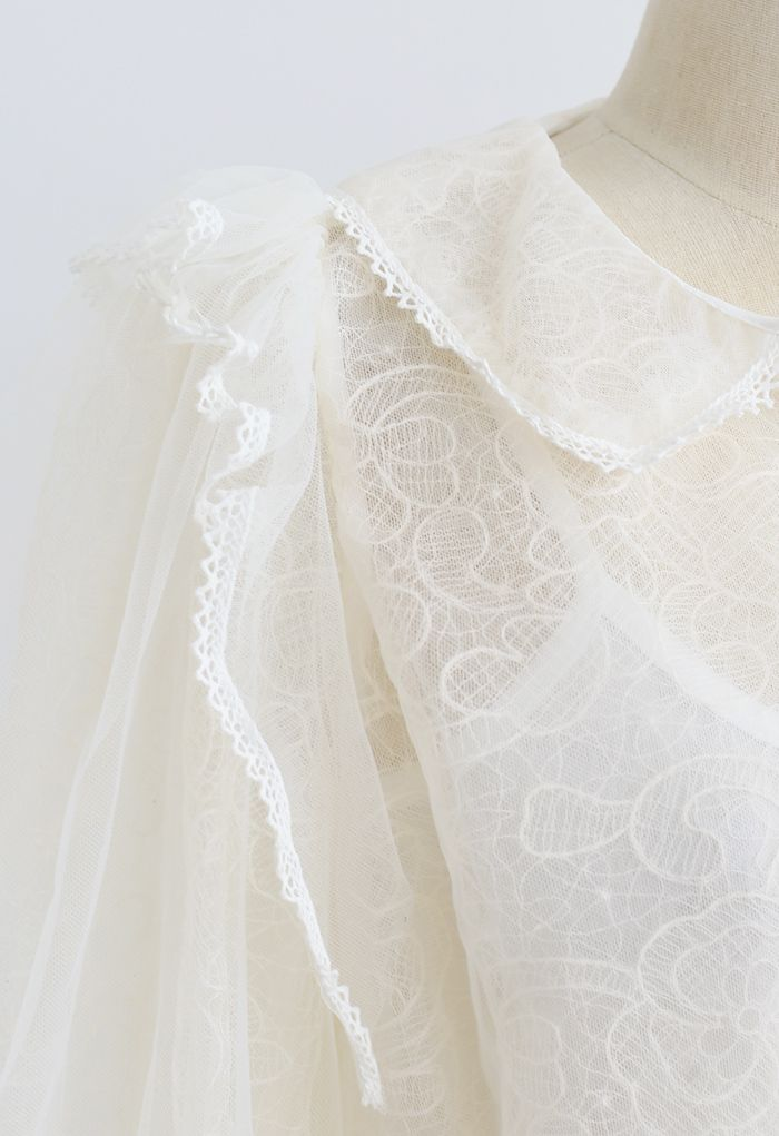 Flower Vine Organza Mesh Shirred Top in Cream