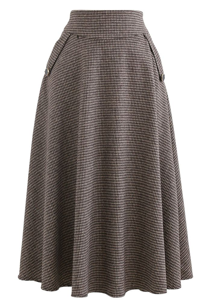 Houndstooth Wool-Blend A-Line Flare Skirt in Brown