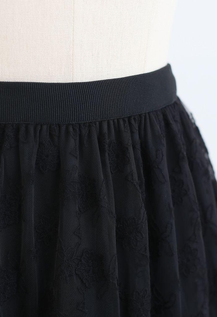 Floral Organza Overlay Mesh Midi Skirt in Black