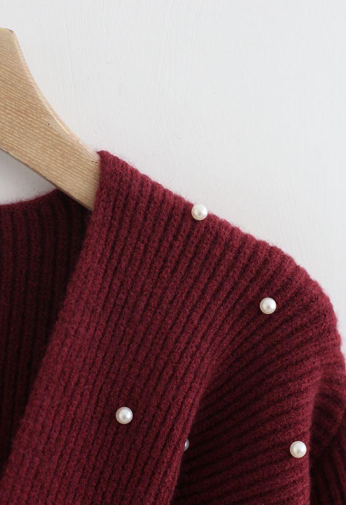 Twist Front Pearl Rib Knit Sweater in Wine