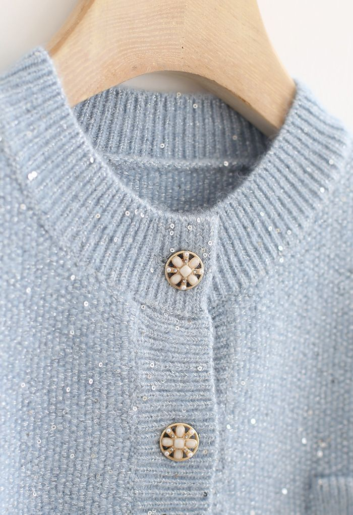 Sequins Thread Button Down Knit Cardigan in Blue