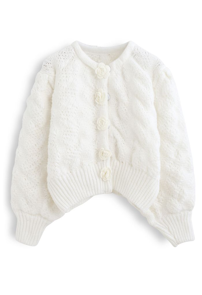 Flowers Button Down Embossed Bubble Sleeves Cardigan in White