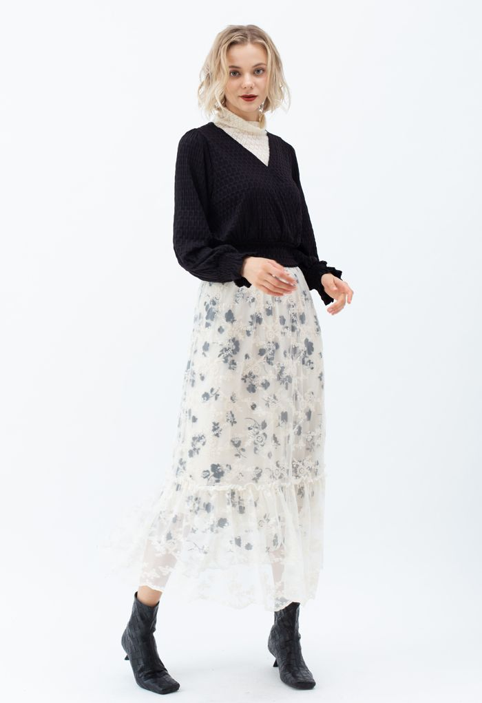 3D Posy Embroidered Double-Layered Mesh Maxi Skirt