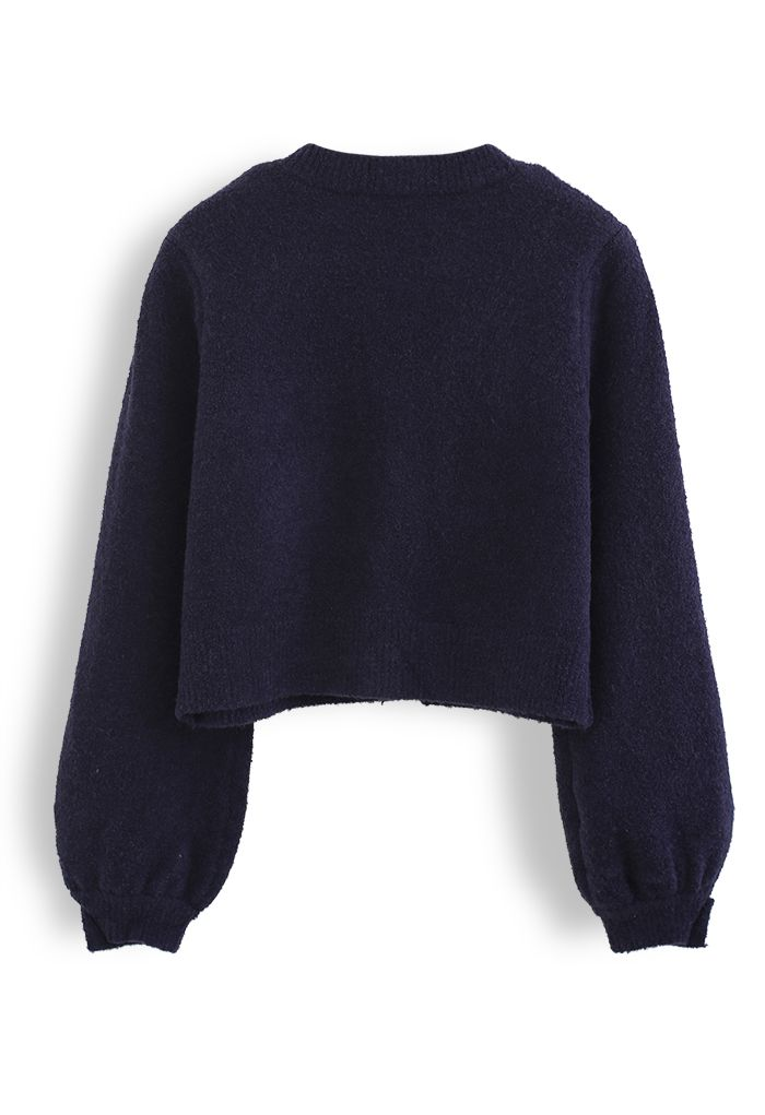 Fluffy Button Down Pocket Knit Cardigan in Navy