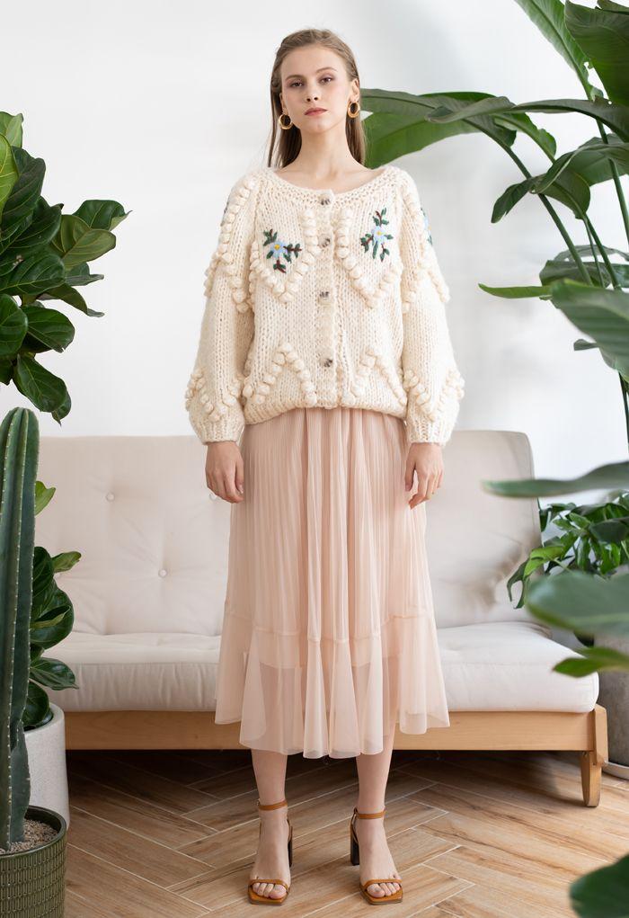 Floral Stitch Zig Zag Pom-Pom Hand Knit Cardigan