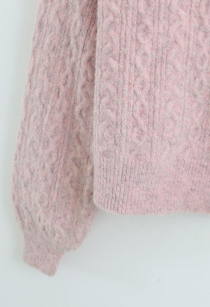 Geflochtene Strickjacke mit Zopfknopf in Pink
