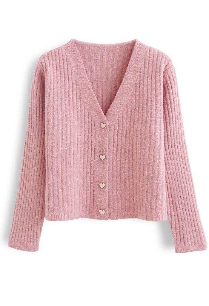 Gemütliche, gerippte Strickjacke mit V-Ausschnitt in Pink