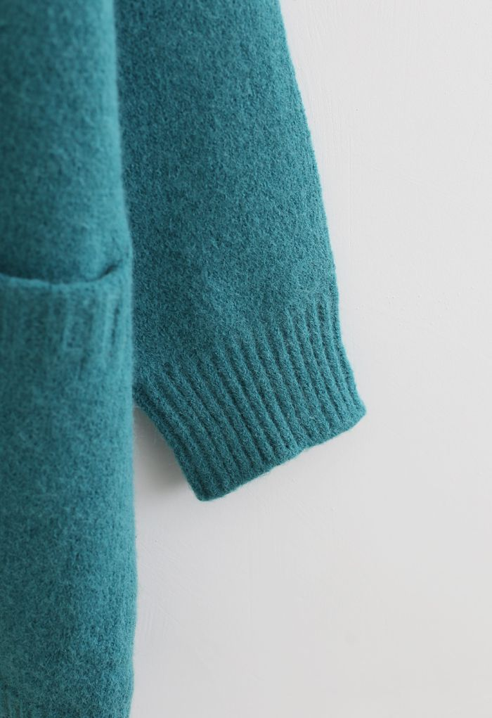 Pockets Double-Breasted Longline Cardigan in Turquoise