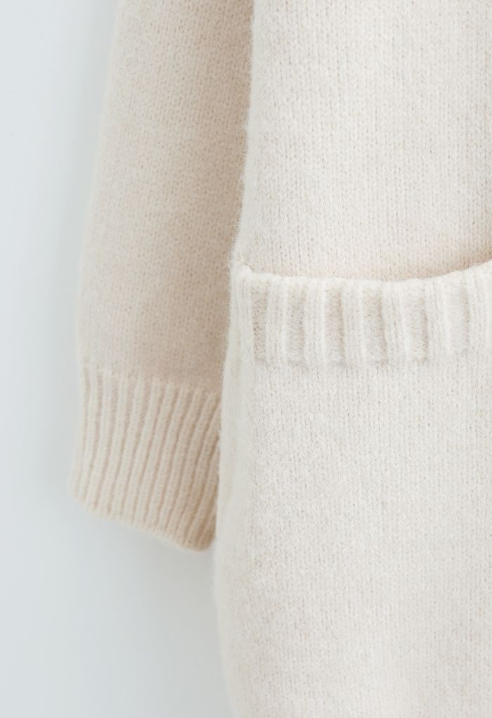 Pockets Double-Breasted Longline Cardigan in Ivory
