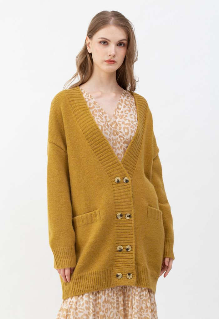 Pockets Double-Breasted Longline Cardigan in Ginger