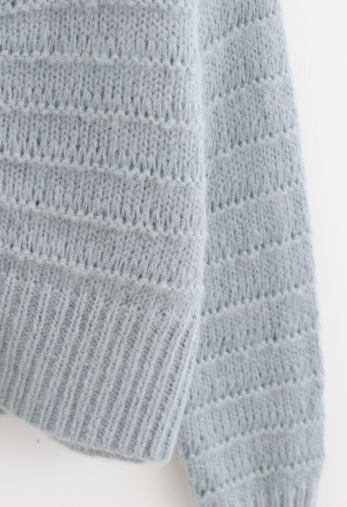 V-Neck Button Down Fuzzy Knit Cardigan in Dusty Blue