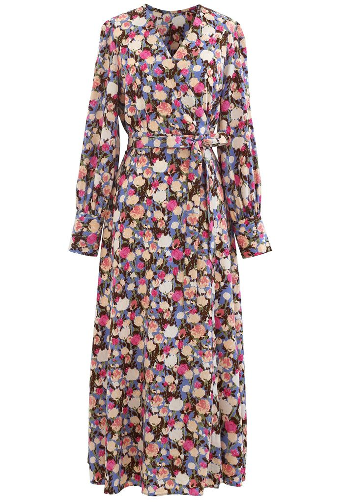 Watercolor Floral Wrapped Maxi Dress in Pink