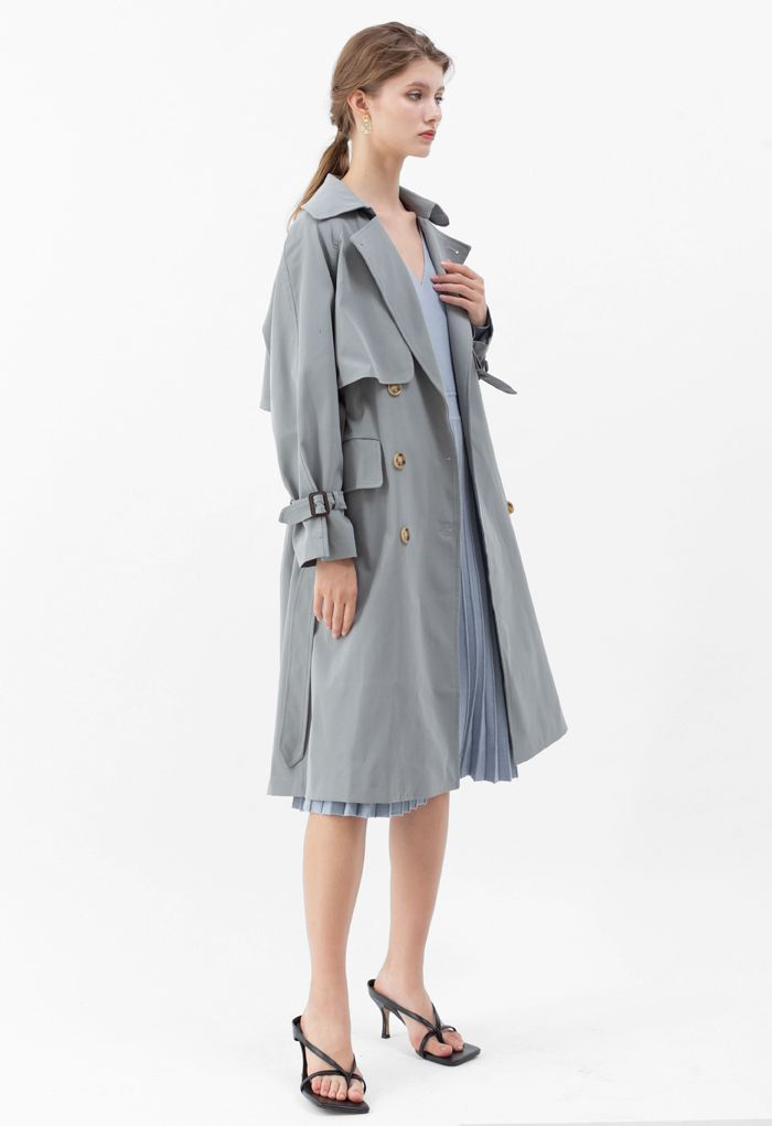 Flap Pockets Double-Breasted Belted Trench Coat in Dusty Blue