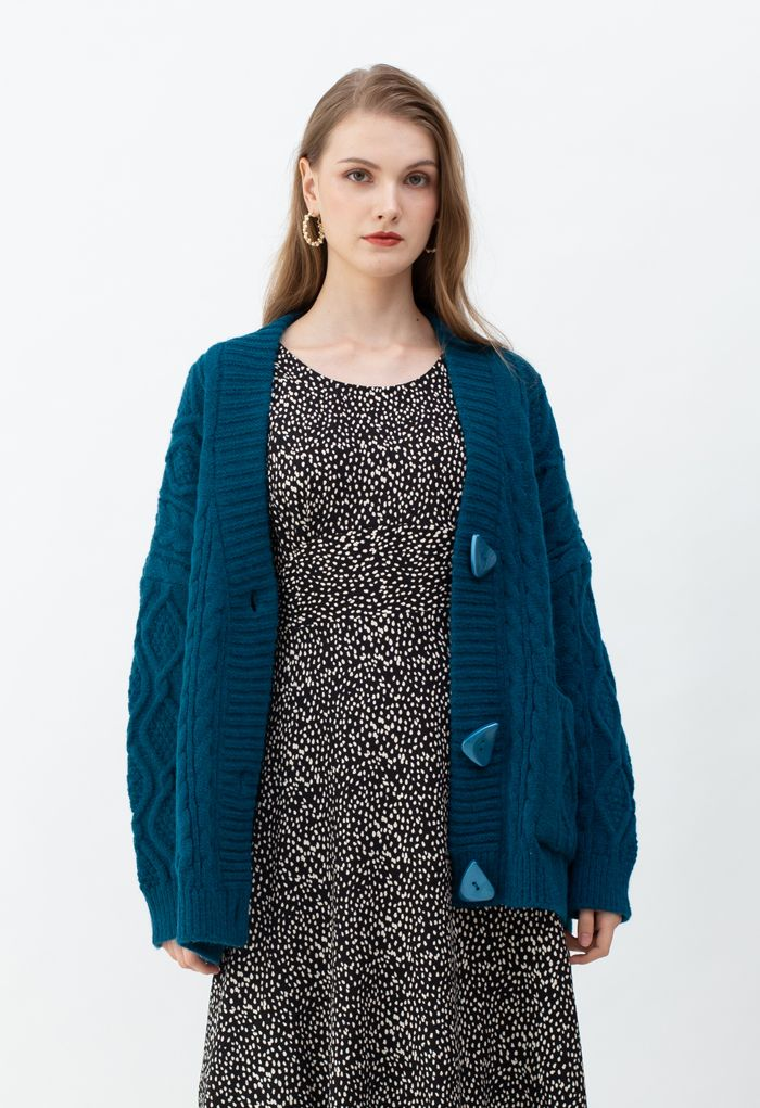 Unregelmäßige Button Pocket Braid Cardigan in Indigo