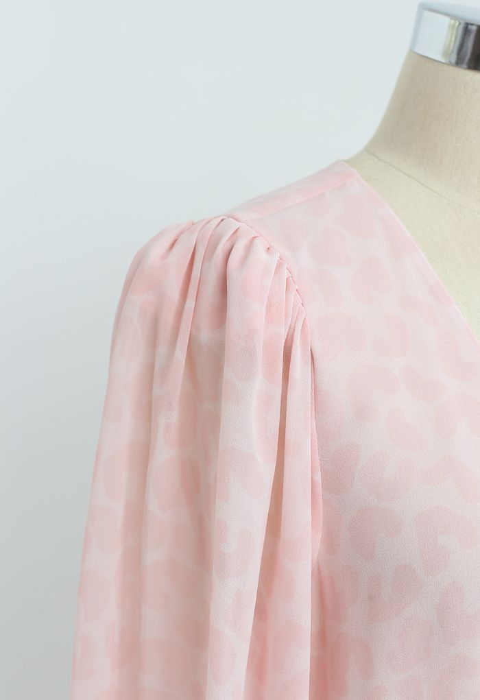 Pinky Leopard Ruffle Chiffon Wrapped Dress