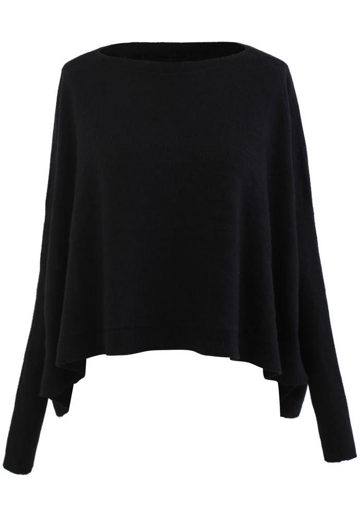 Soft Flare Hem Cape Sweater in Schwarz
