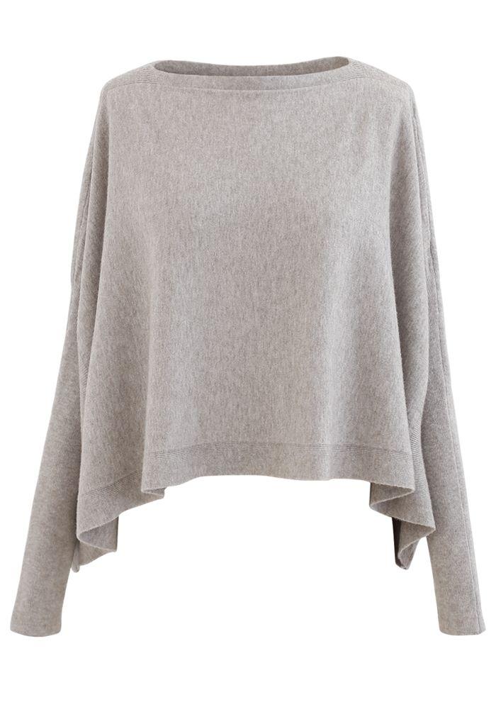 Soft Flare Hem Cape Sweater aus Sand