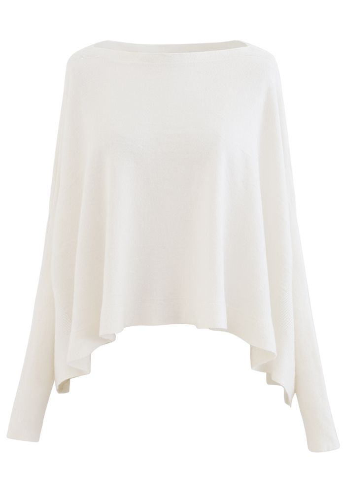 Soft Flare Hem Cape Sweater aus Elfenbein