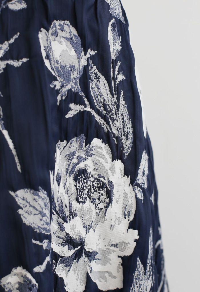 Navy Floral Jacquard Plissee Midirock