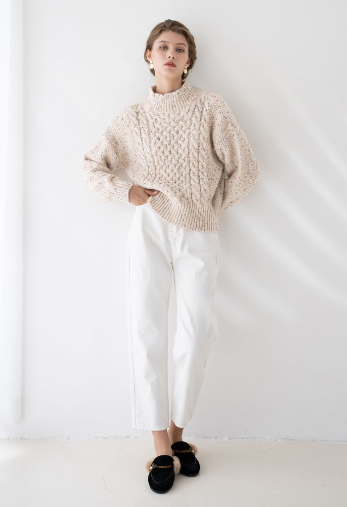 Bunte Punkte High Neck Chunky Strickpullover