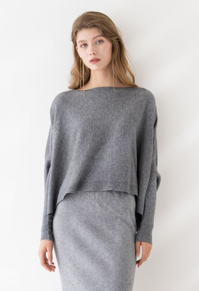 Soft Flare Hem Cape Sweater in Grau