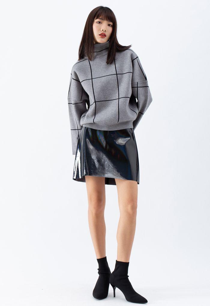 Grid Turtleneck Sweater in Grey
